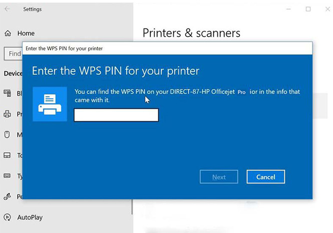 hp officejet pro 9015 wps pin